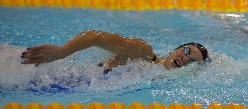 Strålende svømming av Marte Løvberg under første dag av Nordisk Mesterskap. Ny bestenotering på favorittøvelsen er 1.59,74!